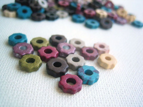 Mykonos,Greek,Ceramic,6mm,Beads,tiny,gears,24,Greek ceramic beads, gear beads, Mykonos beads, steampunk supplies,6mm beads