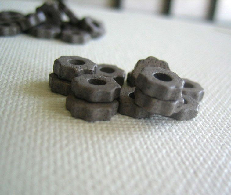 Mykonos Greek Ceramic 6mm Beads tiny gears 48 - product images  of