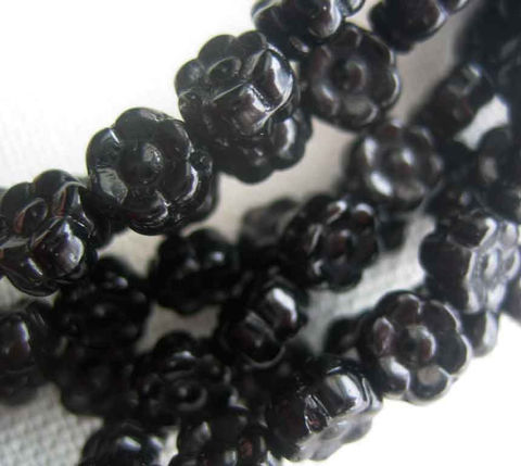 Pressed,Glass,Flower,Beads,1,strand,Supplies,Bead,flower_beads,Czech_flower_beads,6mm_flower_beads,Czech_glass_flowers,flower_tab_beads,small_flower_beads,flower_spacer_beads,Czech_beads_Ontario,Czech_beads_Canada,black_flower_beads,black_glass_beads,black_Czech_glass,black_flower,glass