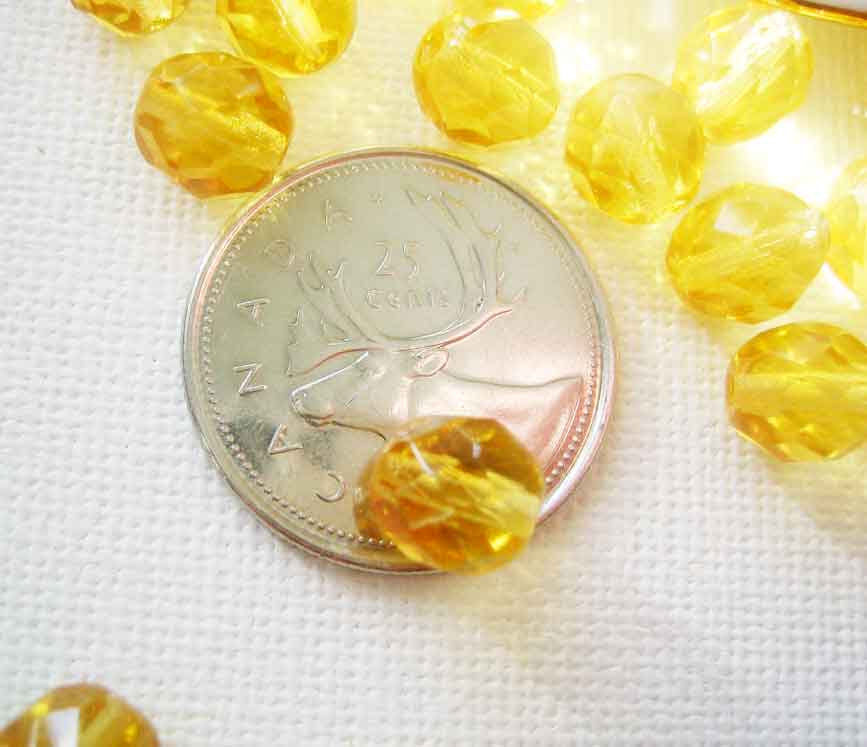 Yellow Topaz Glass Beads 8mm fire polished 25  - product images  of