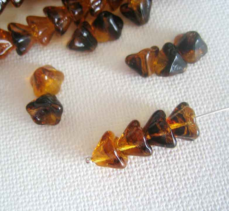 36 Tortoiseshell  Bellflower Beads, 6mm x 8mm Czech Glass - product images  of