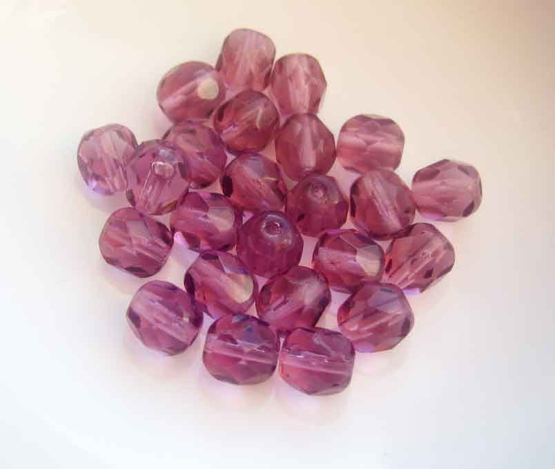 Amethyst Czech Glass Beads 6mm fire polished faceted 25 pieces - product images  of