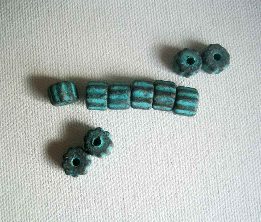 Fluted Ceramic Tube Beads Green Patina 10  - product images  of