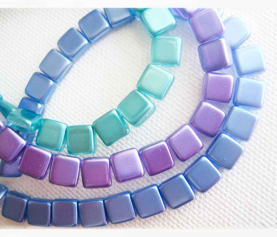 Czech Glass 2 Hole square beads, select colour - product images  of