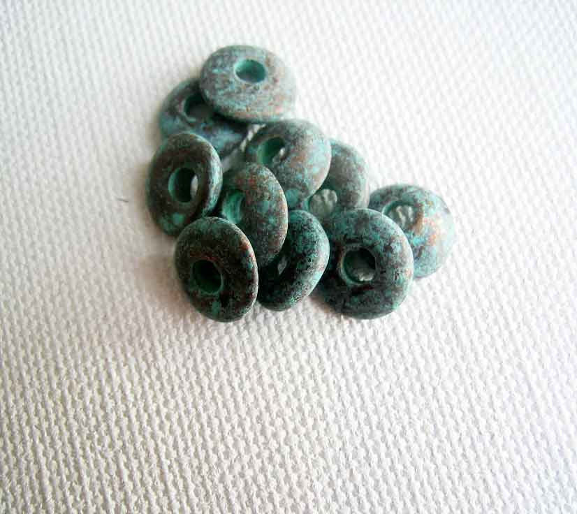 Greek Ceramic Kiln Fired Beads, Patina Cornflake Beads 10 pieces 10mm - product images  of