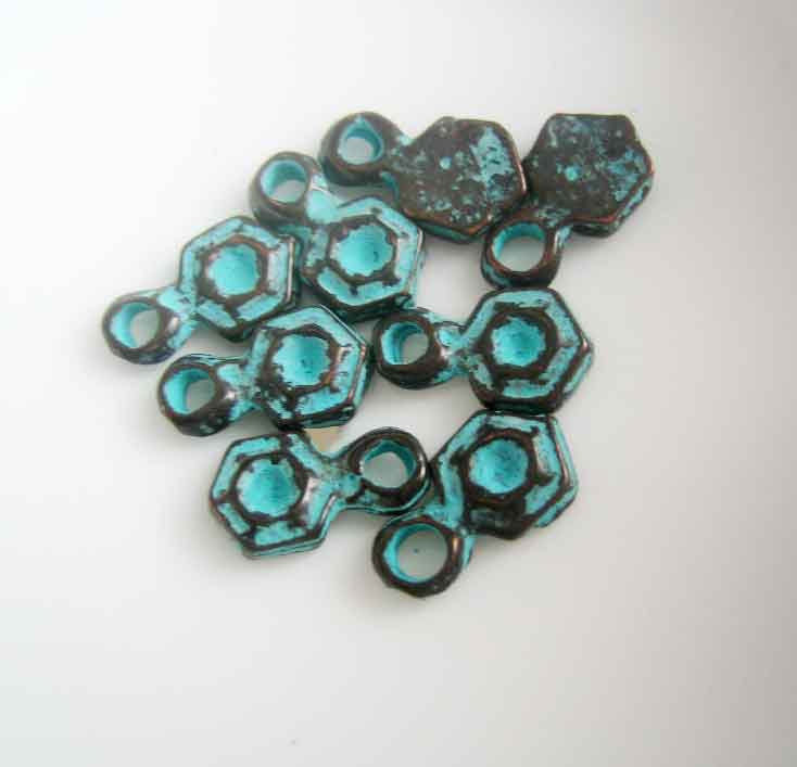 Patina Drops small Greek cast metal findings hexagon dangles 8 drop charms - product images  of
