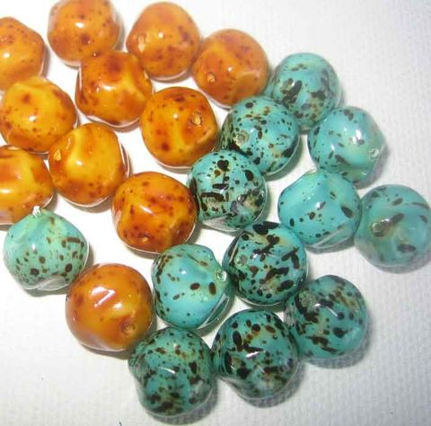 Baroque,Glass,Beads,,Caramel,or,Turquoise,colour,,speckled,beads,10mm,,12,pieces,Baroque beads, opaque glass, speckled beads, coated beads, caramel corn beads, turquoise glass, 10mm beads