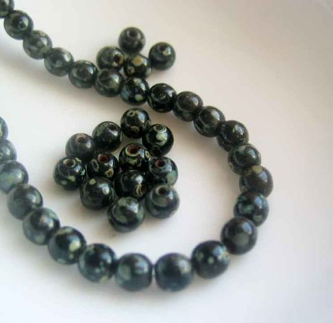 Small,Black,Picasso,Beads,,Czech,Glass,4mm,,50,round,druks,Czech glass beads, mottled beads, Picasso beads, black round beads, 4mm beads, 4mm druks, opaque glass beads