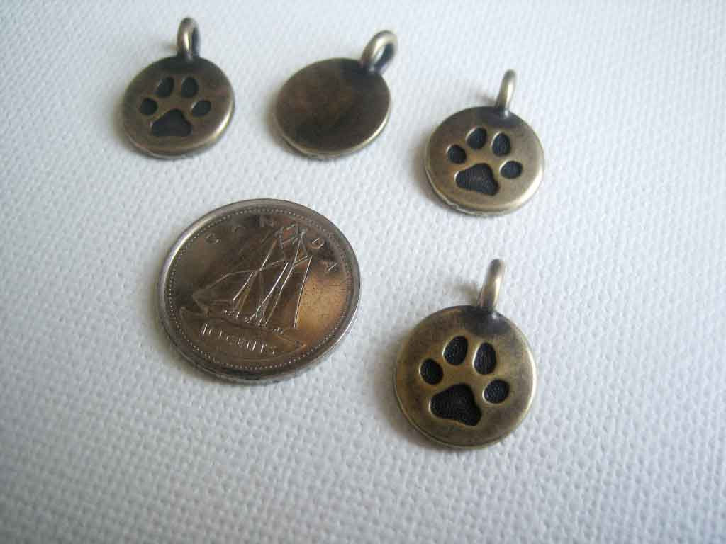Antique Bronze Finished Paw Print Drop Charms 4 pieces - product images  of