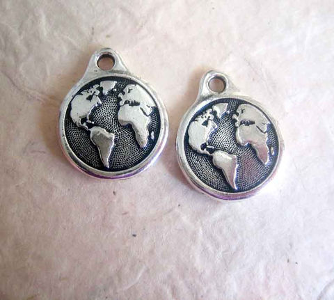 TierraCast,earth,drops,,Round,Charms,pewter,with,antique,silver,finish,,2,TierraCast charms,TierraCast pewter, Earth charms, earth drops, silver finish, our world