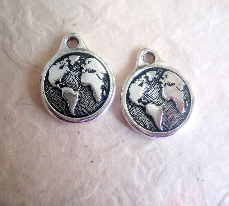 TierraCast earth drops, Round Charms pewter with antique silver finish, 2 - product images  of