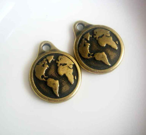 Earth,Charms,,round,drops,bronze,finish,,TierraCast,,2,pieces,TierraCast charms, earth drops, drop charms, bronze drops, our world,bronze charms, earth charms, world charms, globe charms