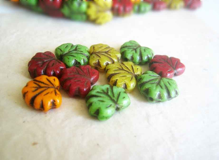 Autumn Leaves Mix, Czech Glass Beads, Maple Leaf, 10 beads - product images  of