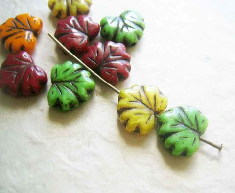 Autumn,Leaves,Mix,,Czech,Glass,Beads,,Maple,Leaf,,10,beads,leaf beads, maple leaf beads, leaves, fall colours, autumn colors, glass leaf beads, Czech glass beads