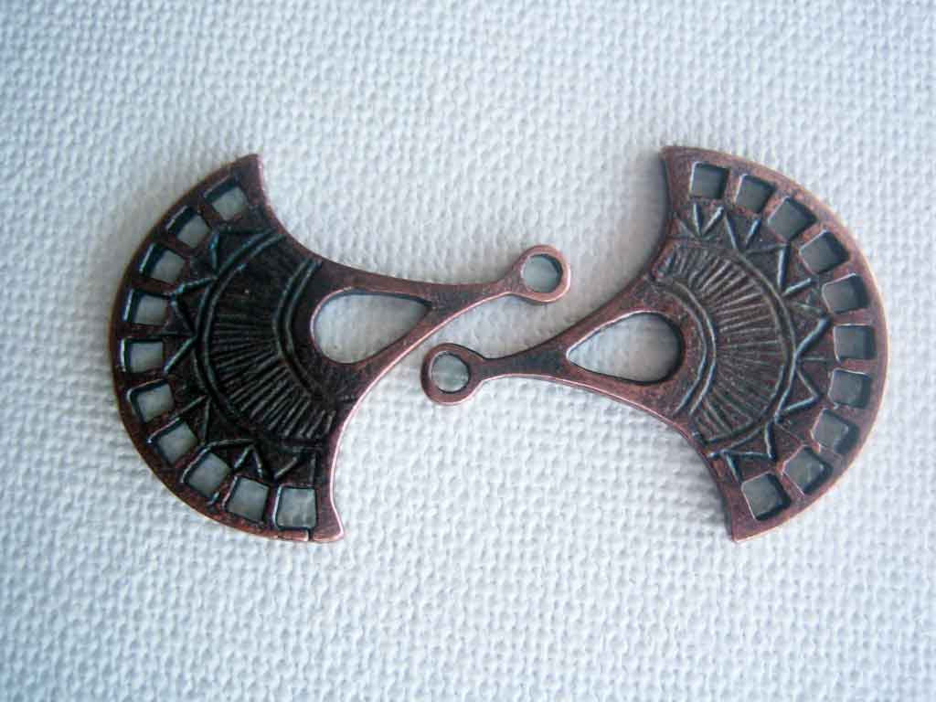 2 Greek Casting Mykonos Fan Pendant pieces large charm bronze patina copper - product images  of
