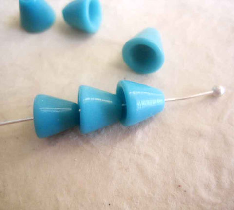 TIny,Czech,Glass,Bead,Caps,vintage,6,vintage beads, bead supplies, vintage Czech glass, glass bead caps, blue bead caps, tiny bead caps, cone bead caps, bead cone, light blue, turquoise blue