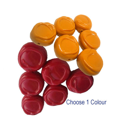 Vintage,Swirl,Dark,Red,or,Yellow,Ochre,Beads,vintage acrylic beads,vintage beads,lucite bead,red beads,wine red,red licorice,chunky beads,yellow ochre, mustard colour,plastic beads