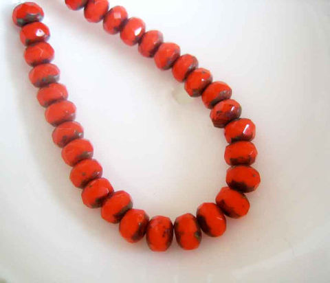 Small,Red,Glass,Rondelles,with,Picasso,finish,4x6mm,30pc,Czech glass beads, glass rondelles, red beads, small glass beads, accent beads, Picasso finish, 4mm x 6mm