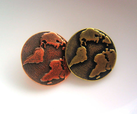 TierraCast,Earth,Buttons,4,choose,Copper,or,Bronze,finish,TierraCast buttons, metal buttons, earth buttons, self-shanked buttons, made in USA buttons, Ships from Canada, pewter buttons, antique bronze, antique copper, 16mm buttons