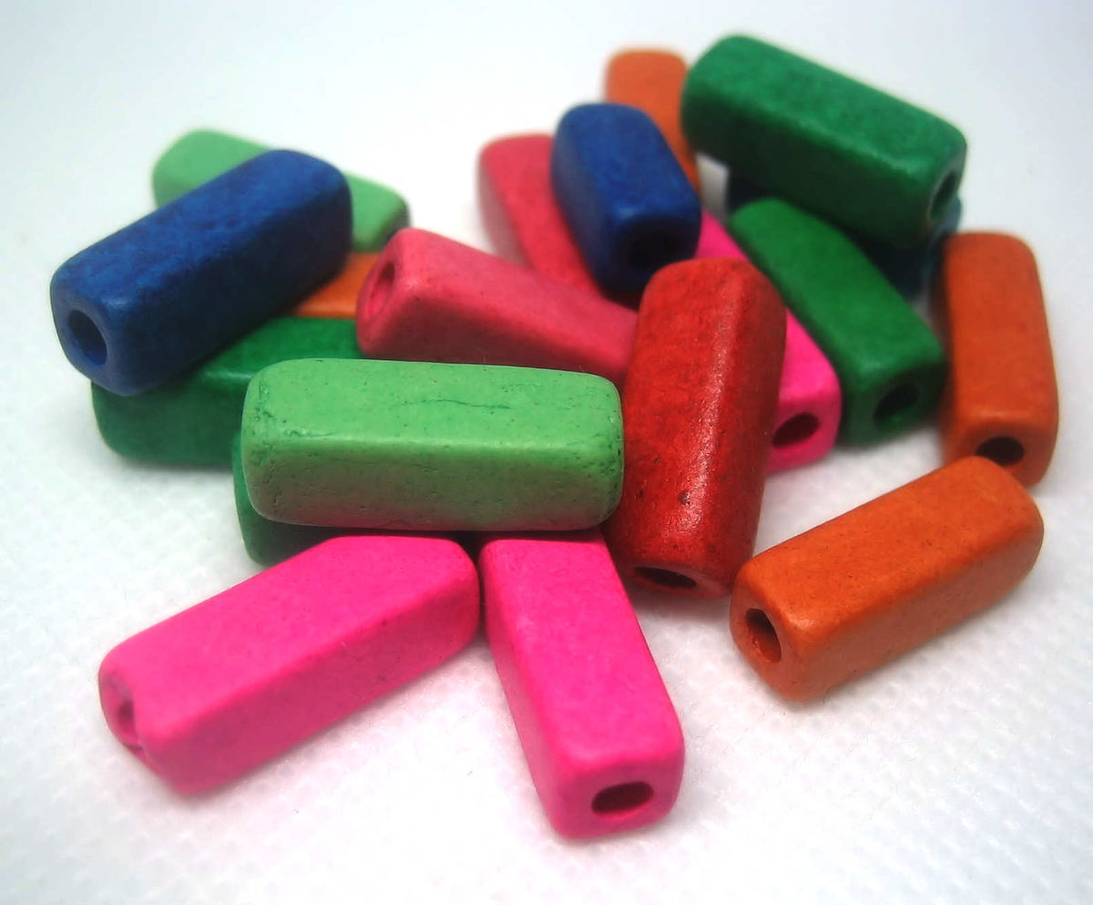 Square Tube Beads Greek Ceramic Matte Bright Colours 20  - product images  of
