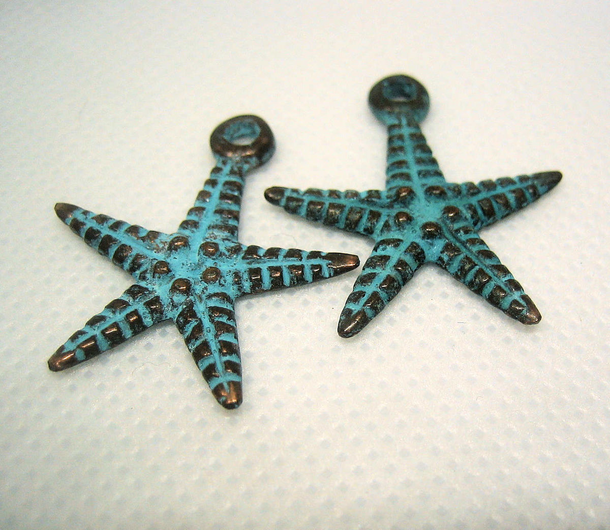 Cast Metal Starfish Pendants or Large Charms with Green Patina 2 pieces - product images  of