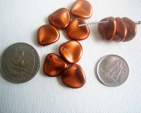 clearance lot Rose Petal Beads 14mm Czech Glass - product images  of