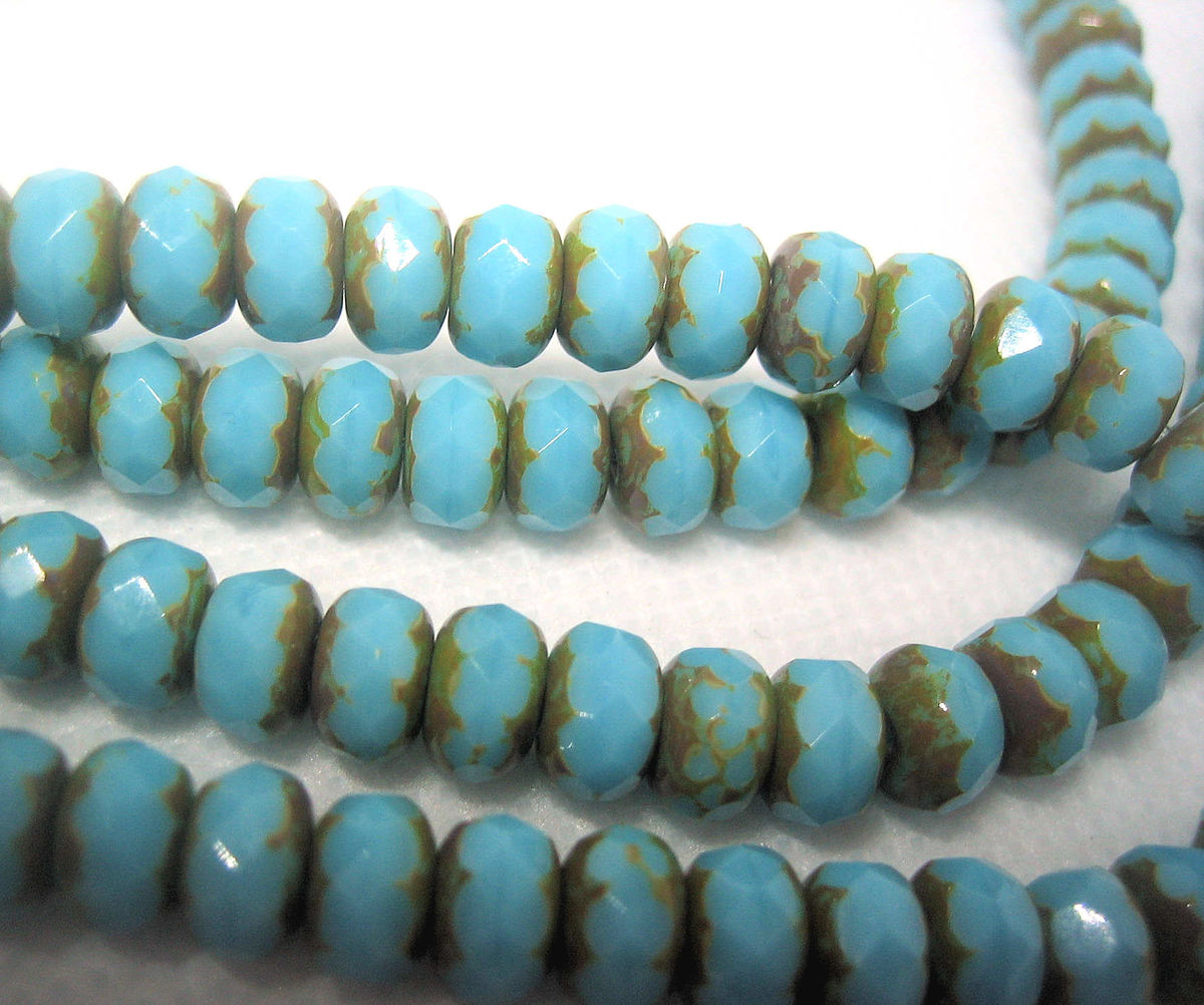 Blue Turquoise Picasso Finish Czech Beads one strand - product images  of