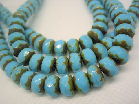 Blue,Turquoise,Picasso,Finish,Czech,Beads,one,strand,blue turquoise, faceted rondelle beads, Picasso finish beads, Czech glass beads, puffy rondelles, accent beads, small disk beads, disc beads, Ontario beads, beads Canada