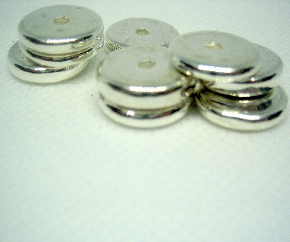 13mm Greek Ceramic Metallic Disk Beads 10 pieces - product images  of