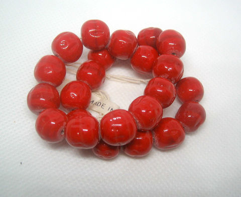 Vintage,Baroque,Glass,Beads,,10mm,Red,Beads,from,Japan,vintage beads, glass beads, vintage glass beads, Japan beads, Japanese beads, red beads, 10mm beads,striated glass beads