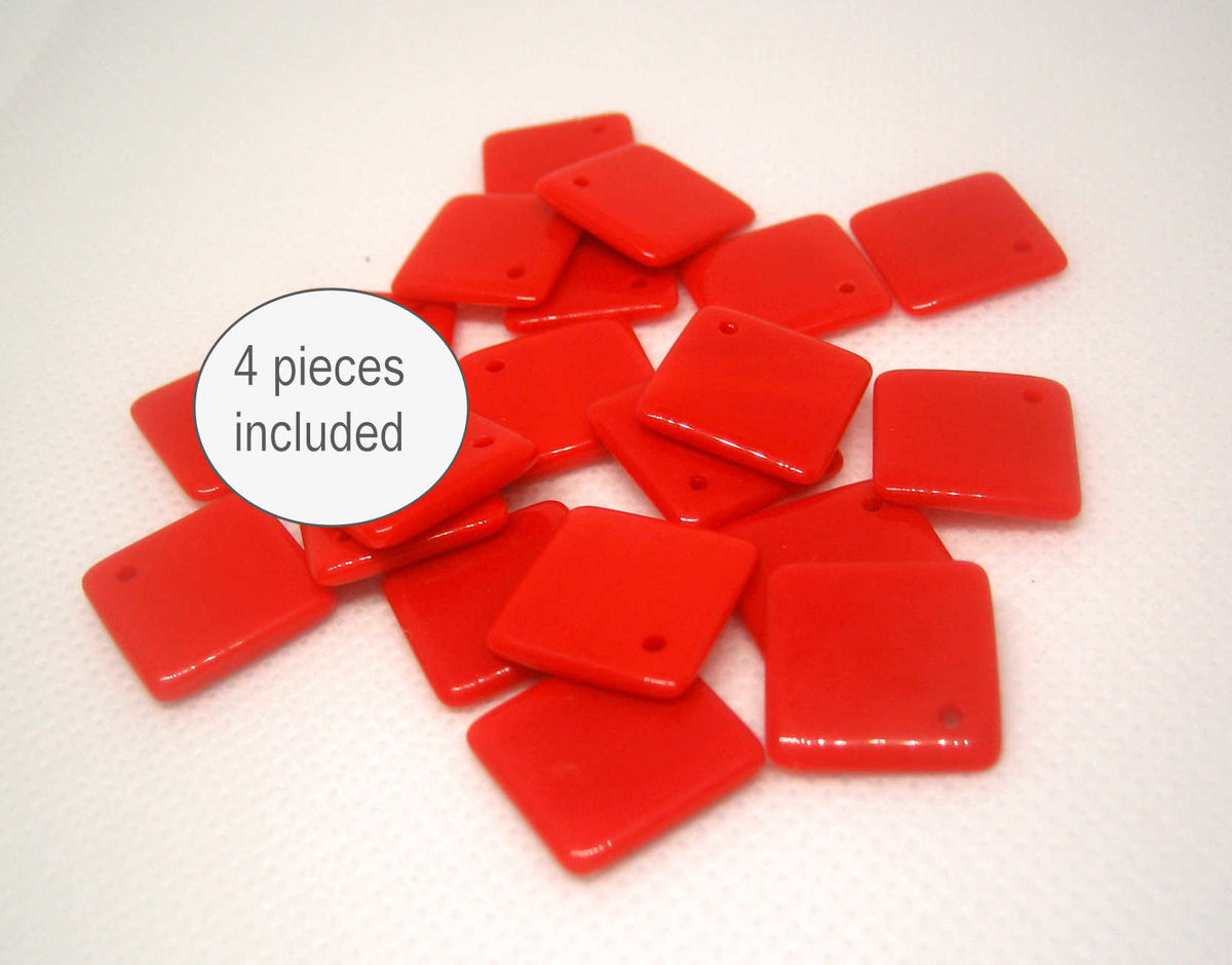 Vintage Glass Pendant Drops Tomato Red 20 Pieces - product images  of