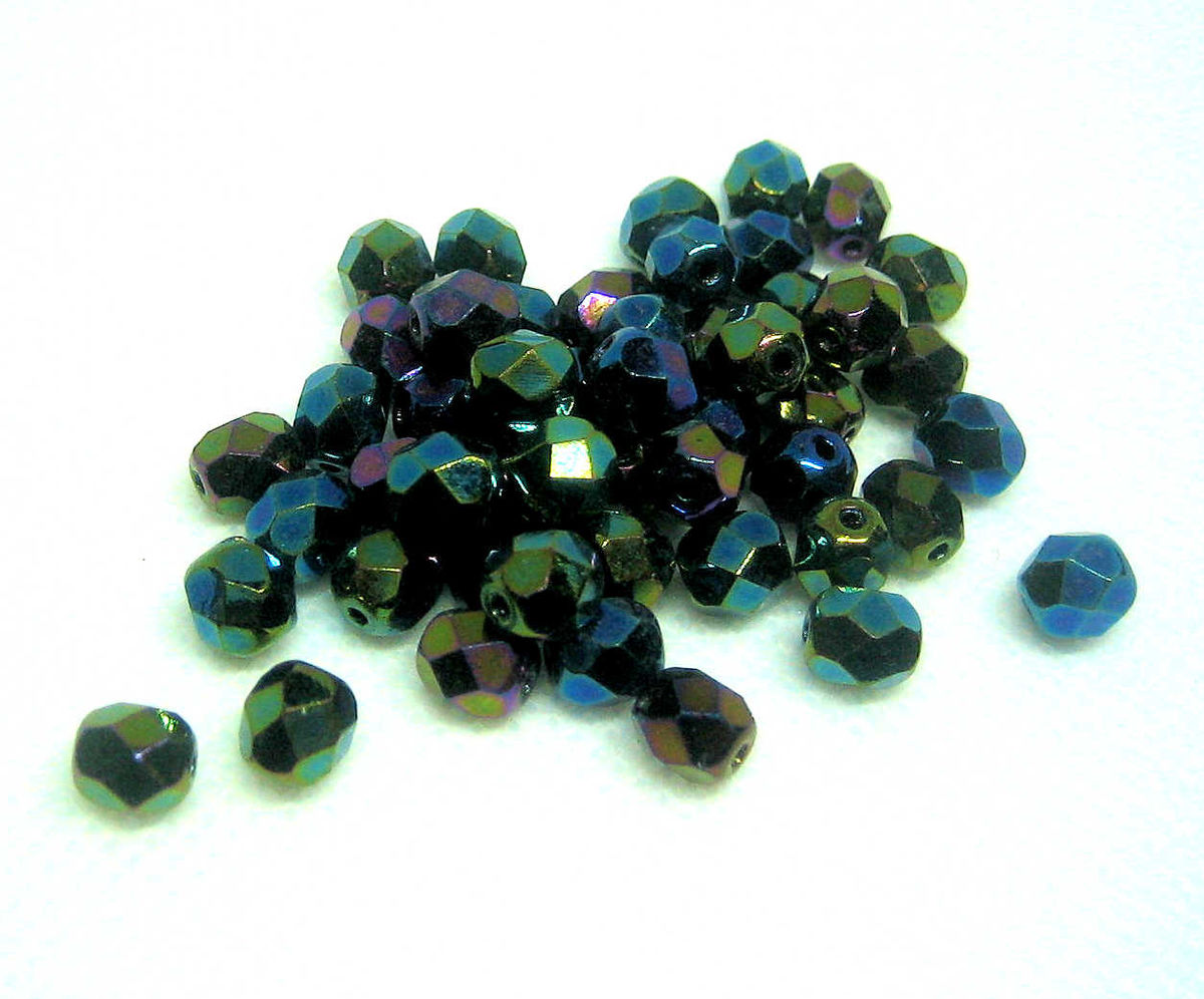 Czech Glass 6mm Green Iris Fire Polished Beads 50 - product images  of