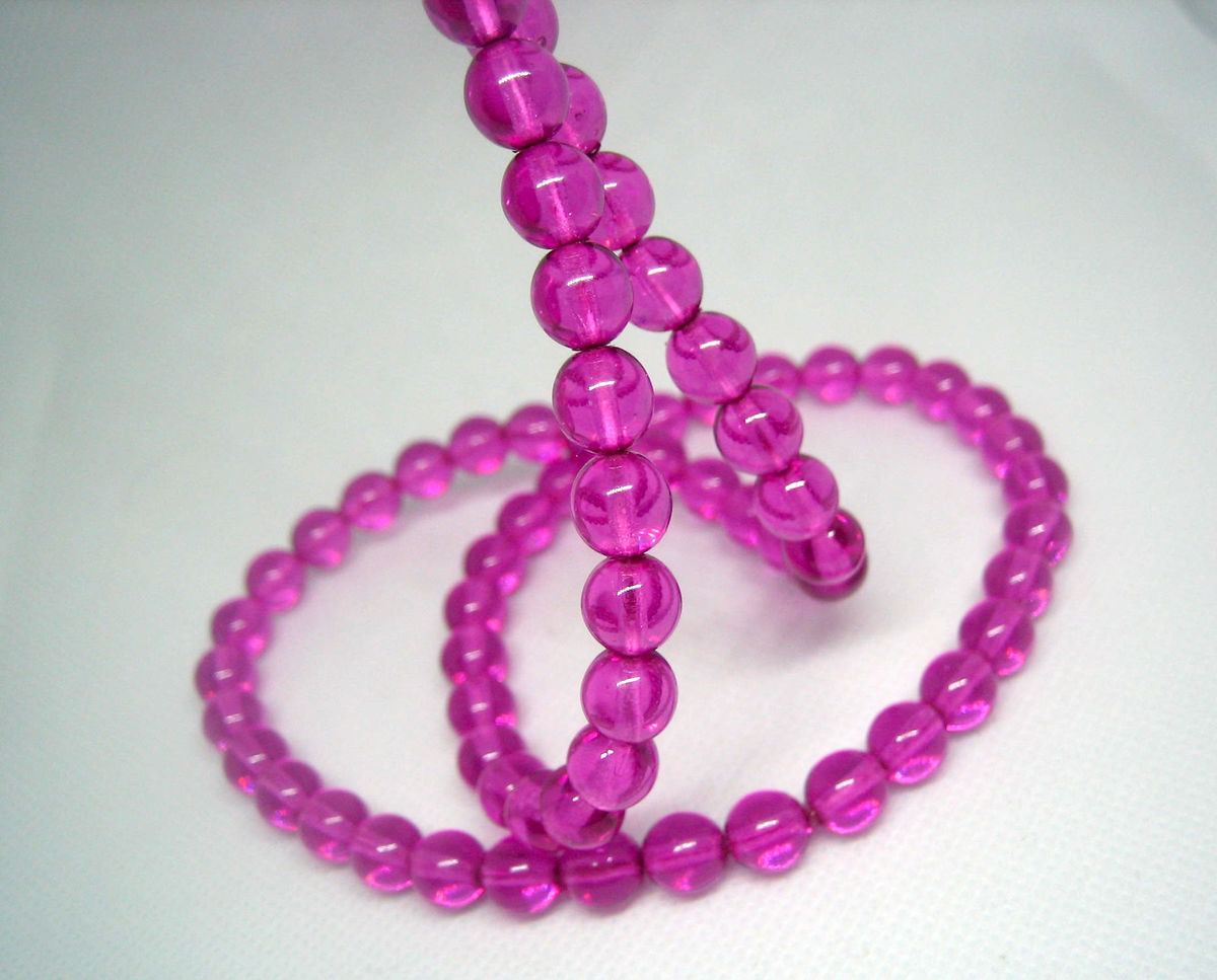 Czech Glass Beads 8mm orchid purple strand or loose - product images  of