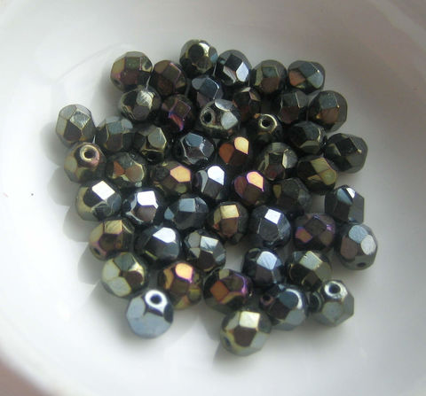 Brown,Iris,Czech,Glass,Beads,6mm,size,50,beads,fire polished beads, Czech glass beads, brown iris beads, 6mm beads
