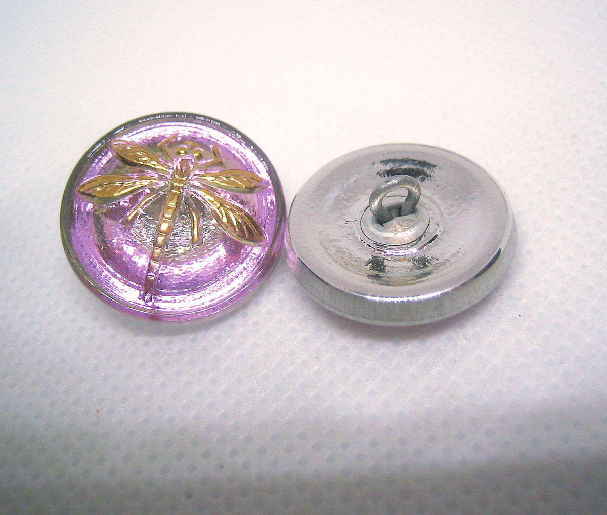 Czech Glass Buttons with Dragonfly 18mm 6 pieces - product images  of