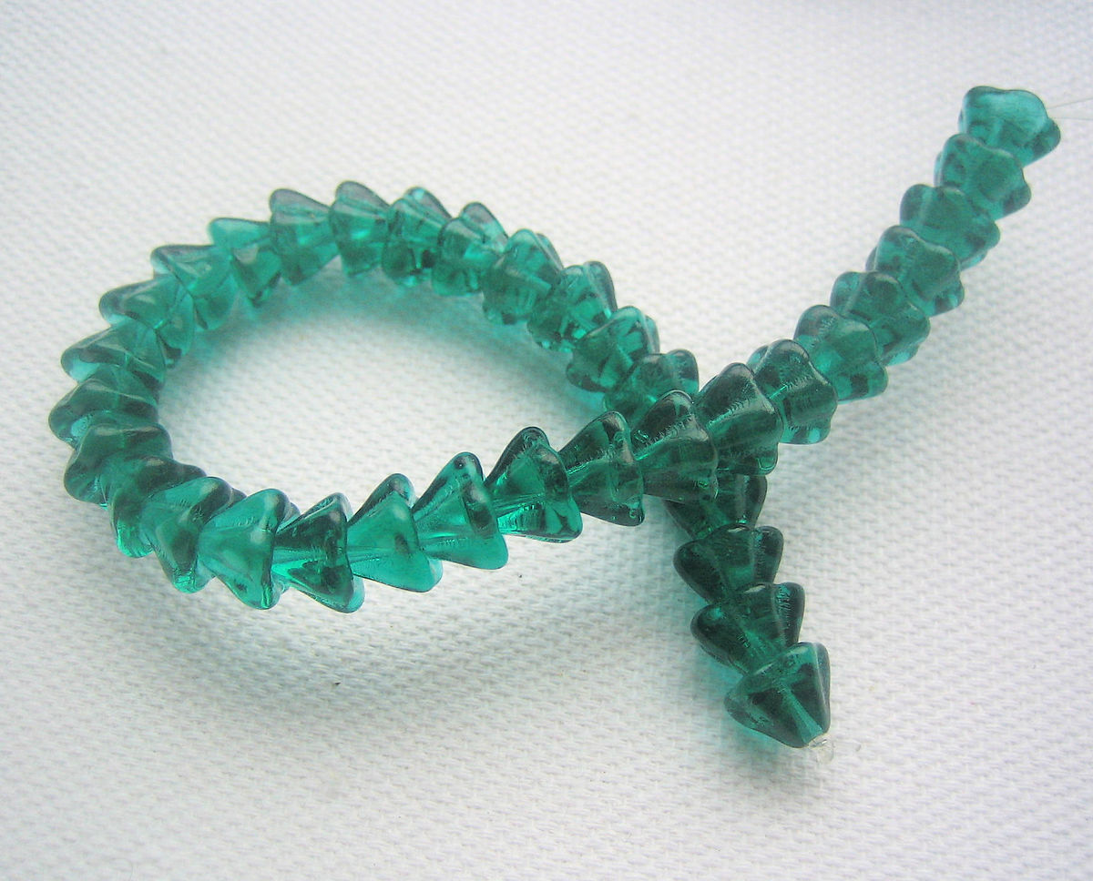 Bell Flower Czech Glass Beads 6mm x8mm teal green 1 strand - product images  of