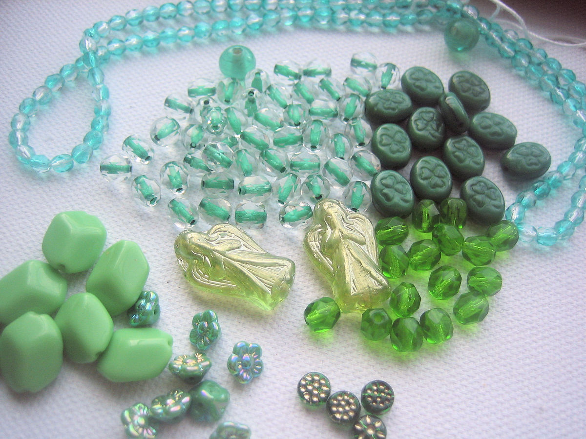 Vintage Glass Beads green mix variety bead lot - product images  of