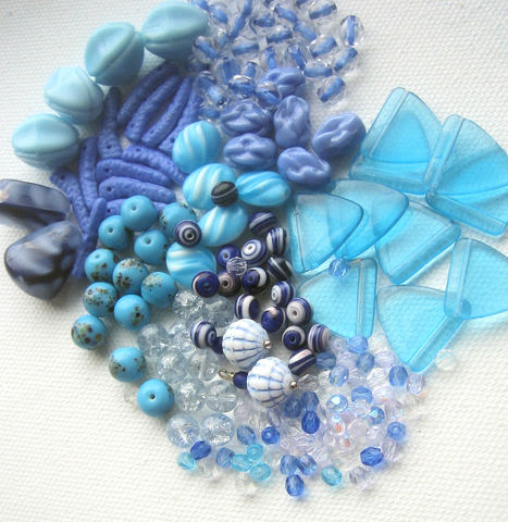 Blue,Bead,Mix,vintage,glass,vintage bead collection, vintage bead mix, vintage blue beads, vintage glass beads, vintage Japanese beads, vintage Czech beads, bead lot, bead mix, curated bead mix