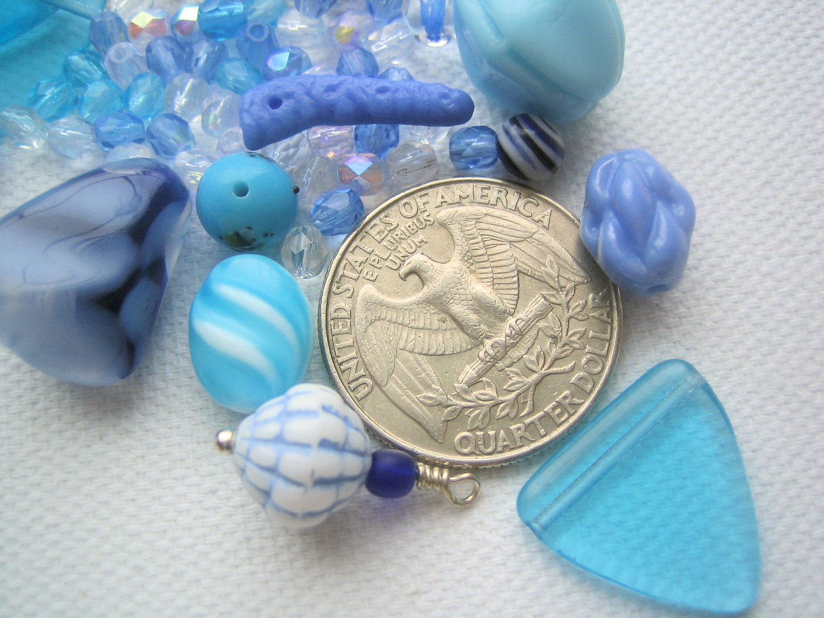 Blue Bead Mix vintage glass  - product images  of