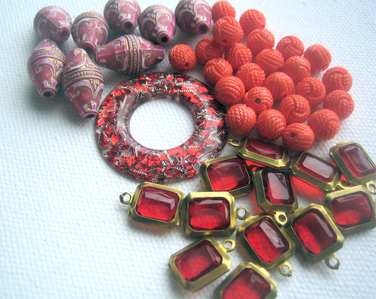 Vintage Plastic Mix lucite acrylic red rose orange - product images  of