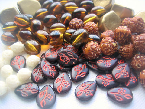 Vintage,Plastic,Bead,Mix,Neutral,,Brown,vintage plastic beads, lucite beads, tortoiseshell beads, brown beads, amber beads, oval beads, bead mix, neutral beads, teardrop beads
