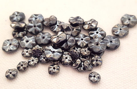 Vintage,Gunmetal,Glass,Rondelles,6mm,and,10mm,,48,beads,vintage glass beads,gunmetal glass beads,glass rondelles,10mm rondelles,glass spacer beads,vintage spacer beads,wavy disc beads,west germany glass beads