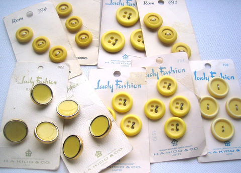 Lot,of,Vintage,Yellow,Plastic,Buttons,carded,sewing buttons, vintage button lot, yellow plastic buttons, carded buttons, 2-hole buttons, 4-hole buttons, self-shanked buttons