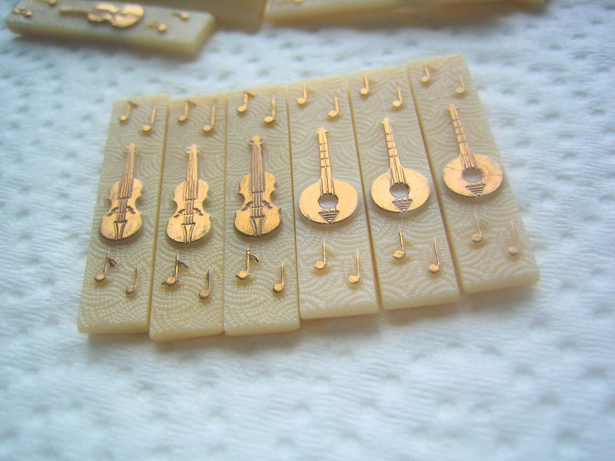 Vintage Glass Limoge Cabachons Stringed Instruments set of 6 - product images  of