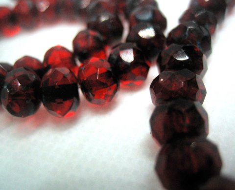 Small,Glass,Rondelle,Beads,Red,Fire,Polished,25,spacer beads, Czech glass rondelles, rondelle beads, faceted glass beads, deep red glass beads, garnet red glass, mottled glass beads, 7mm glass beads