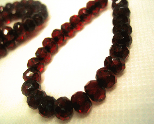 Small Glass Rondelle Beads Red Fire Polished 25 - product images  of