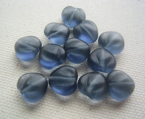 Heart,of,Glass,12,vintage,grey,blue,beads,heart of glass beads, blue grey beads, glass heart beads, Czech glass beads, Czech glass hearts, vintage glass beads, grey blue beads
