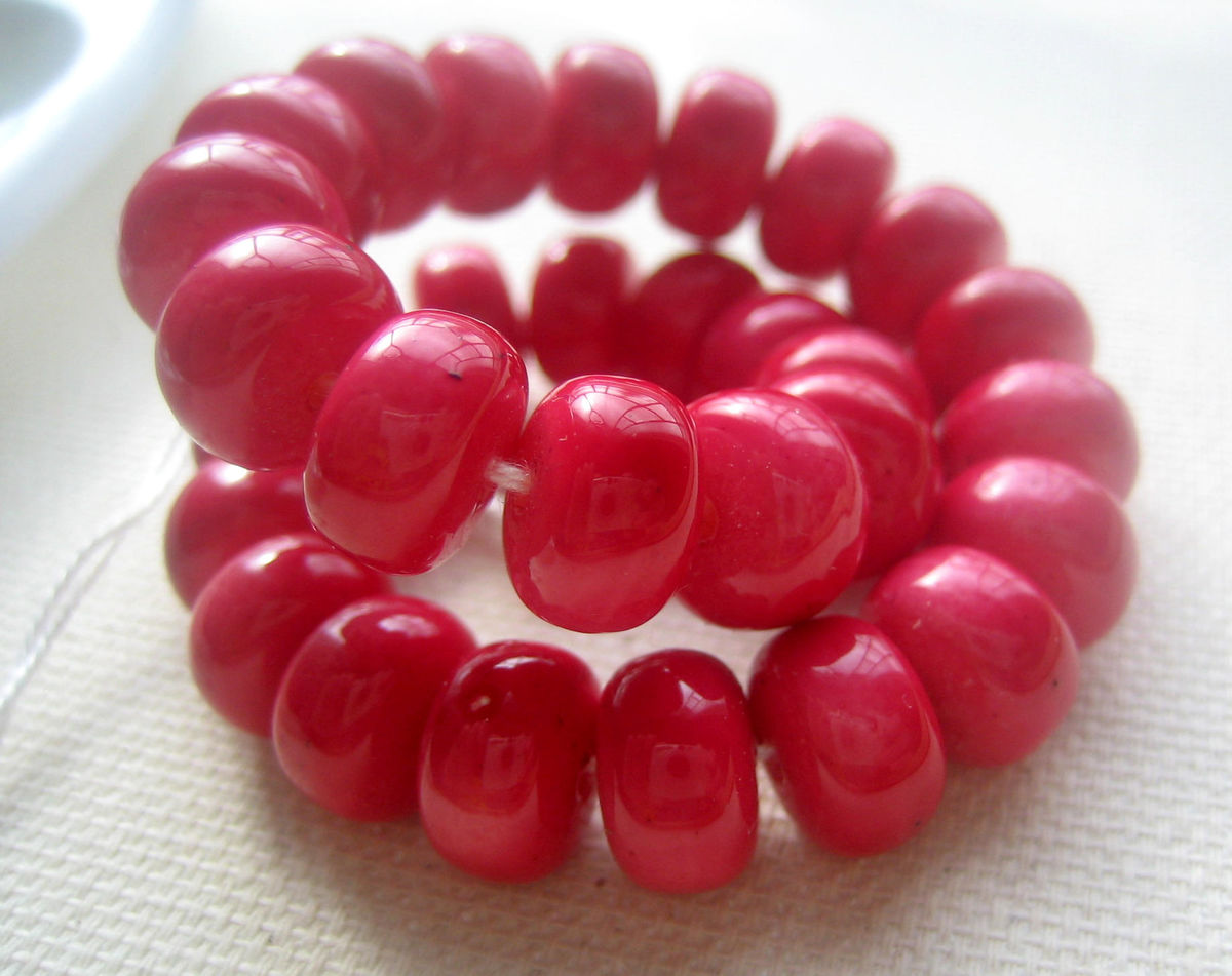 Red Plastic Rondelle Beads 8mm made in Japan 30 - product images  of