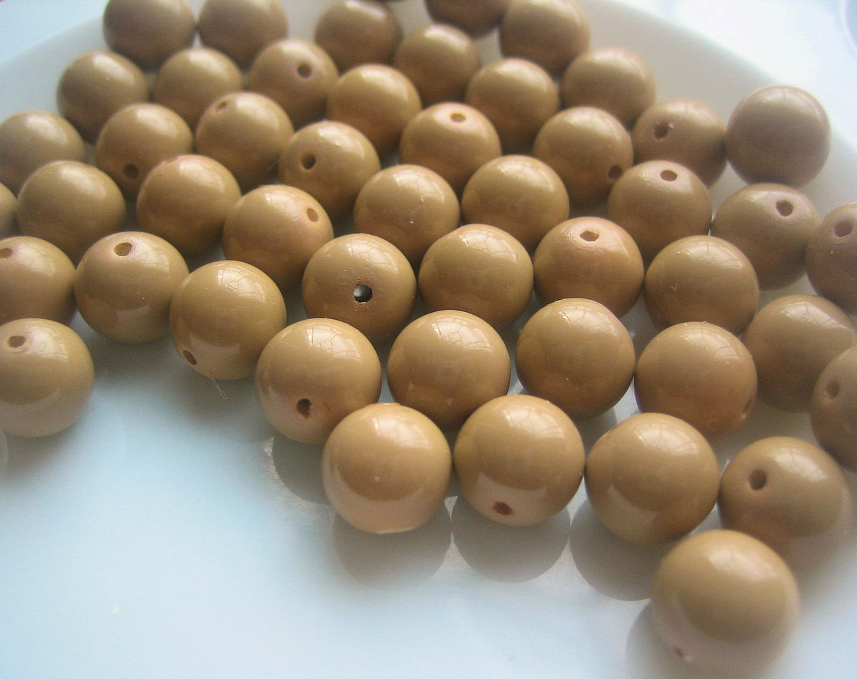Vintage round 8mm beads from Japan coffee cream colour 50 - product images  of