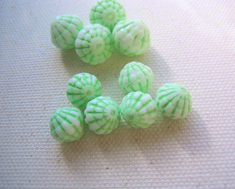 Vintage,Austrian,Glass,Beads,TWO,sizes,mixed,white,and,green,Austrian beads,glass Austrian beads,vintage glass beads,green and white beads